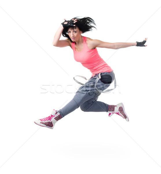 Foto stock: Estilo · moderno · dançarina · saltando · branco · isolado · fitness