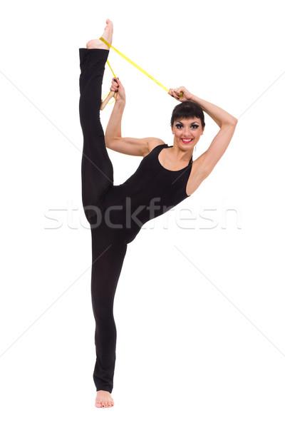 Mosolygó nő izolált fehér nő lány divat Stock fotó © stepstock