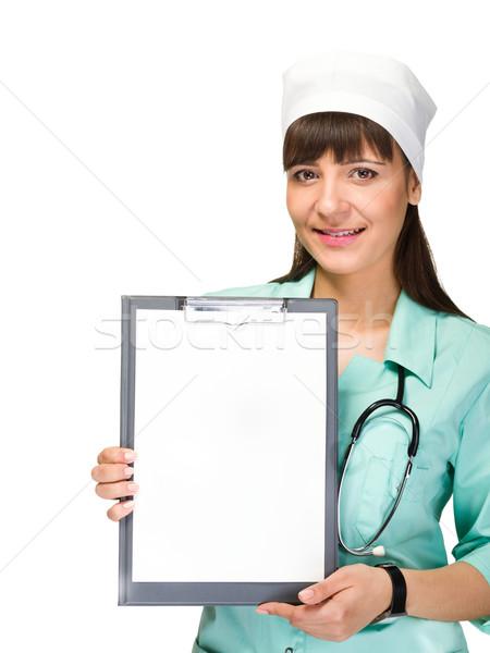 Foto stock: Mulher · médico · enfermeira · vazio · mulher · jovem