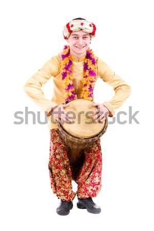 Portret indian man trommel studio Stockfoto © stepstock