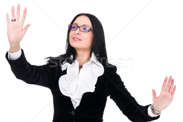 attractive business woman pointing Stock photo © stepstock