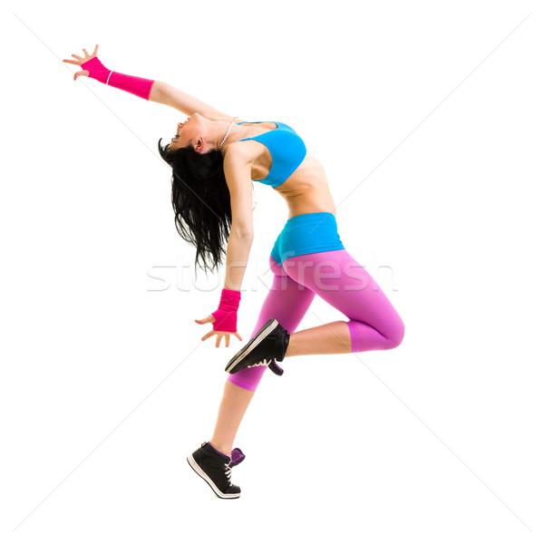 Kız dansçı atlama modern genç kız yalıtılmış Stok fotoğraf © stepstock