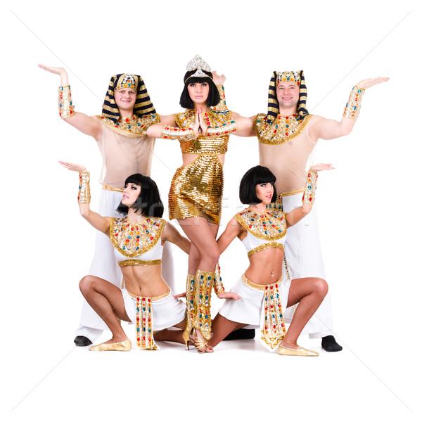 Tancerzy egipcjanin kostiumy stwarzające dance zespołu Zdjęcia stock © stepstock