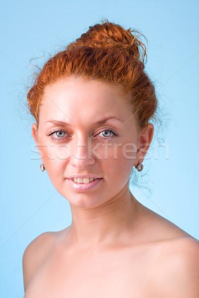 Gülümseyen kadın beyaz komik sevimli kadın mutlu Stok fotoğraf © stepstock