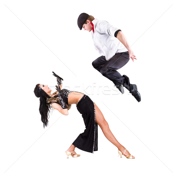gangster man dancing with girl isolated on white Stock photo © stepstock