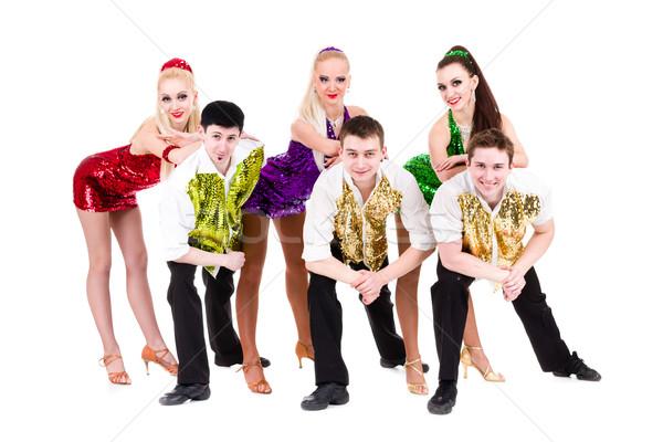 Discoteca dançarina equipe isolado branco posando Foto stock © stepstock