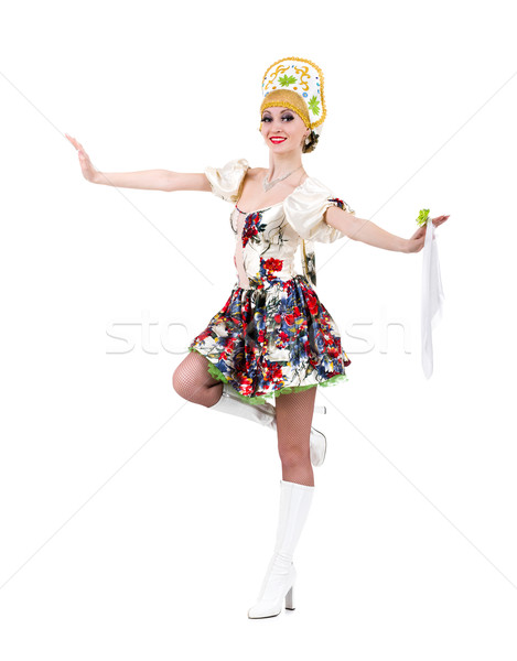 Stock photo: Attractive woman wearing a folk russian dress