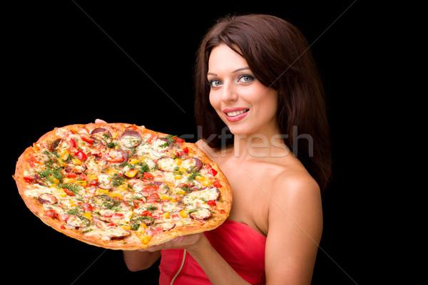 Jonge vrouw pizza zwarte voedsel gelukkig portret Stockfoto © stepstock