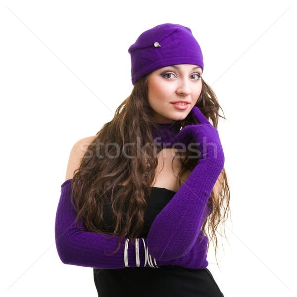 Mulher lã seis luvas retrato mulher jovem Foto stock © stepstock
