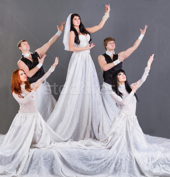подвенечное платье танцы серый девушки свадьба Сток-фото © stepstock