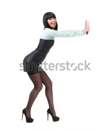 business woman with holding gesture Stock photo © stepstock