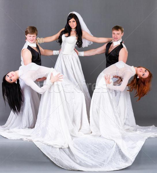 Esküvői ruha tánc szürke teljes alakos lány esküvő Stock fotó © stepstock