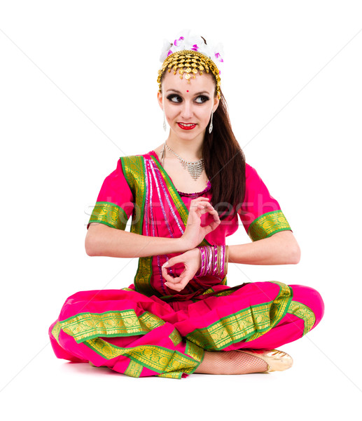 Young woman practicing yoga in the lotus position Stock photo © stepstock