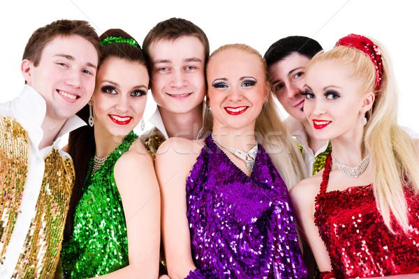 Discoteca dançarina equipe posando branco Foto stock © stepstock