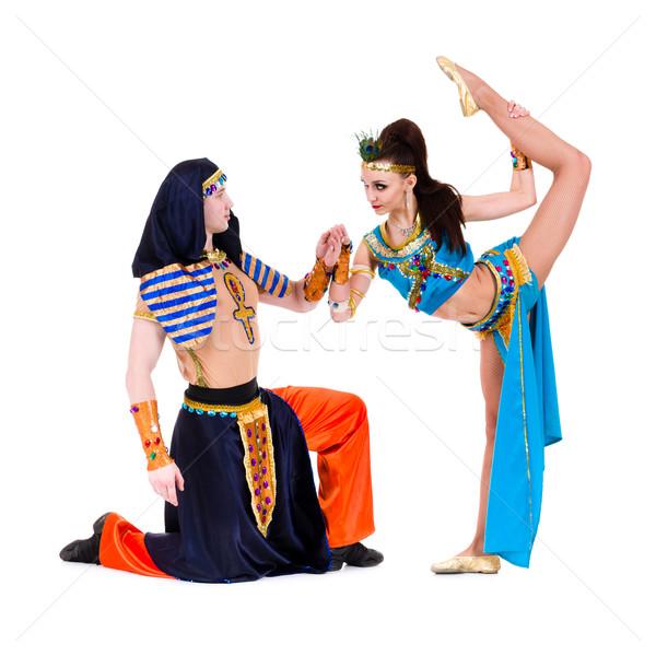 Acrobático dançar casal egípcio Foto stock © stepstock