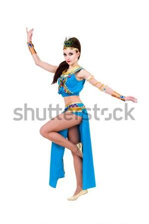 Aantrekkelijk buik danser Blauw kostuum dansen Stockfoto © stepstock