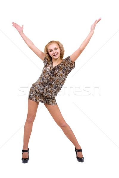 Gülen genç kadın işaret bo yalıtılmış beyaz Stok fotoğraf © stepstock