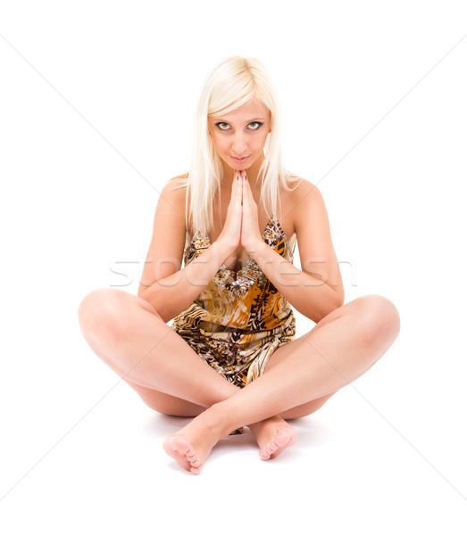 Namaste imádkozik nő fehér kezek sport Stock fotó © stepstock
