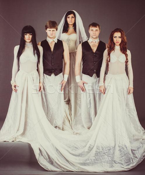 Esküvői ruha néz szomorú esküvő öt szürke Stock fotó © stepstock
