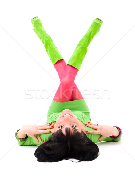 attractive young woman lies on a white background Stock photo © stepstock