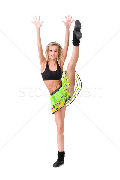 Young fitness woman doing splits Stock photo © stepstock