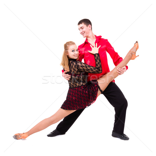şehvetli salsa dans çift yalıtılmış beyaz Stok fotoğraf © stepstock