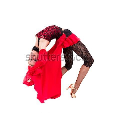 Fiatal vonzó nő tánc flamenco izolált fehér Stock fotó © stepstock