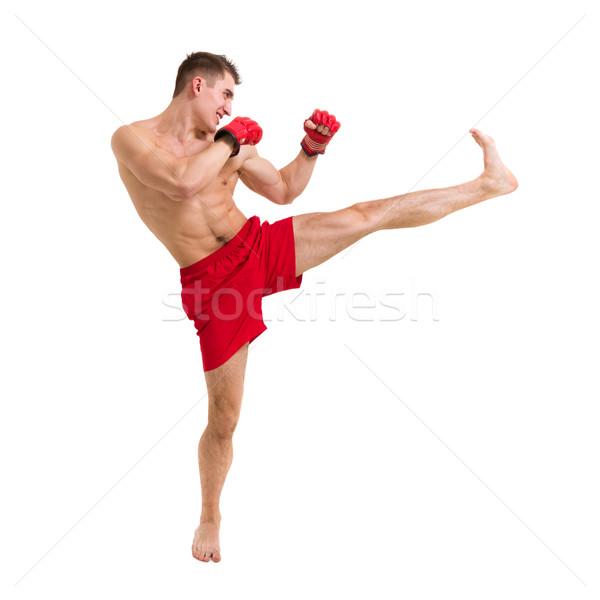 Jonge vechter geïsoleerd witte man Stockfoto © stepstock