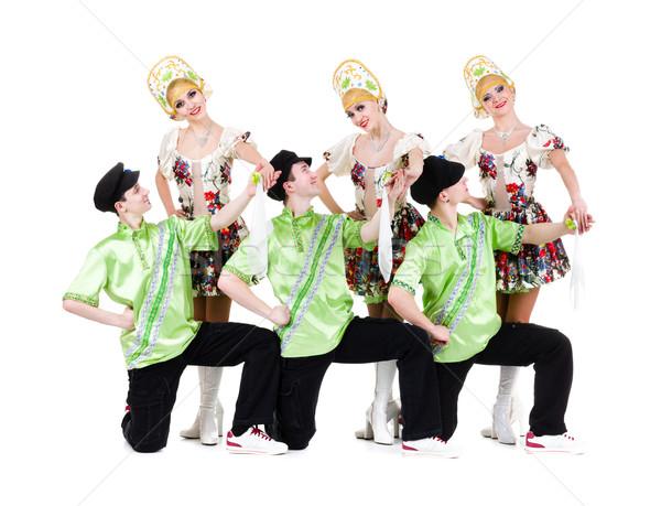 dancer team wearing a folk ukrainian costumes Stock photo © stepstock