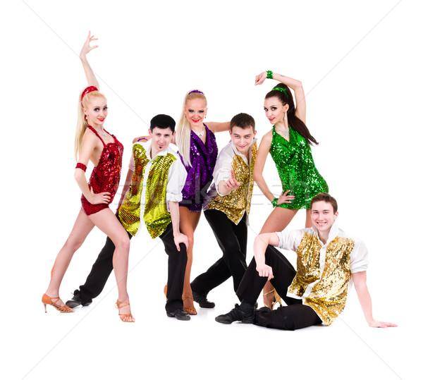 Stockfoto: Disco · danser · team · poseren · geïsoleerd · witte