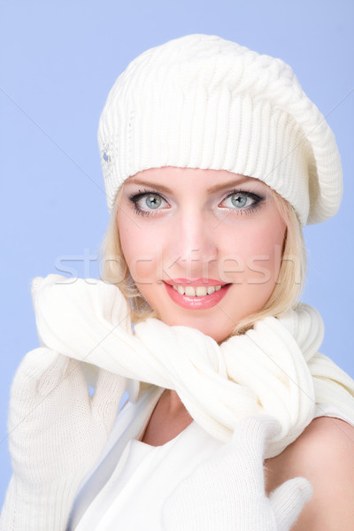 knitwear. woman wearing a winter cap and gloves closeup Stock photo © stepstock