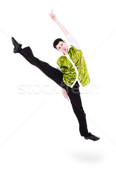 Adam dansçı atlama yalıtılmış beyaz tam uzunlukta Stok fotoğraf © stepstock