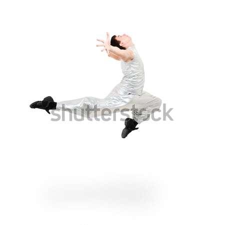 Modern férfi táncos ugrik fehér tánc Stock fotó © stepstock