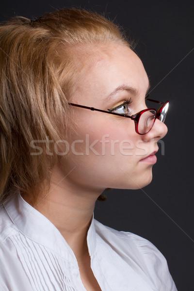 Gyönyörű fiatal nő közelkép portré nő haj Stock fotó © stepstock