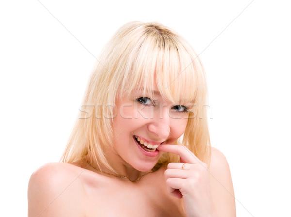 caucasian smiling woman blond Stock photo © stepstock