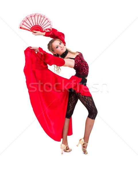 Nő tánc ventillátor izolált fehér szeretet Stock fotó © stepstock