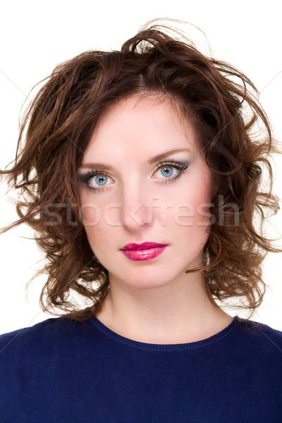 Closeup portrait of a beautiful female model Stock photo © stepstock