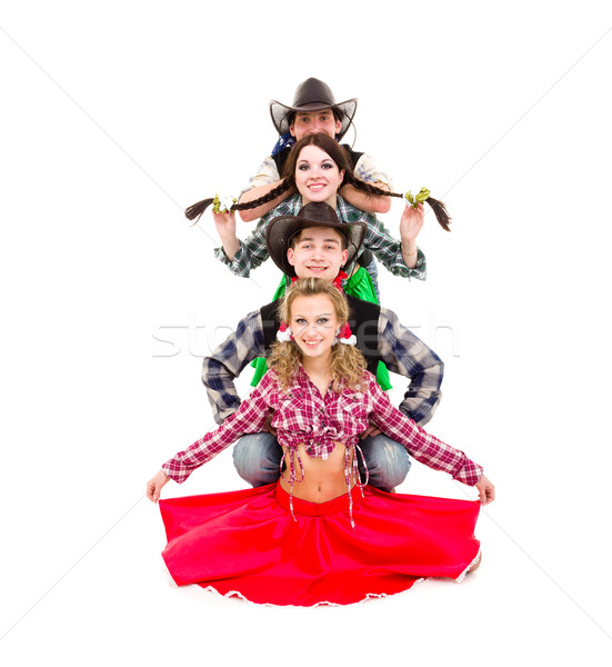 cabaret dancer team dressed in cowboy costumes Stock photo © stepstock