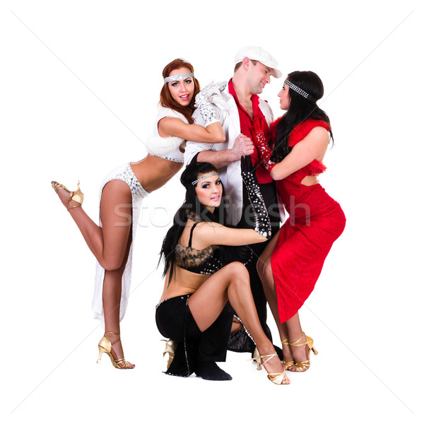 cabaret dancer team dressed in vintage costumes Stock photo © stepstock