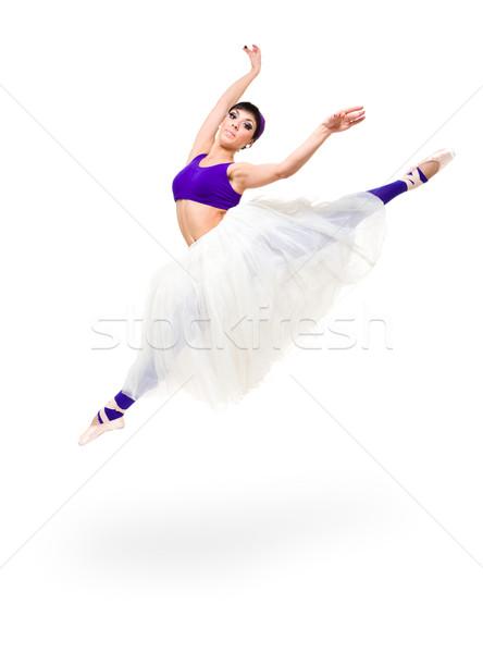 Tam uzunlukta genç balerin atlama yalıtılmış beyaz Stok fotoğraf © stepstock