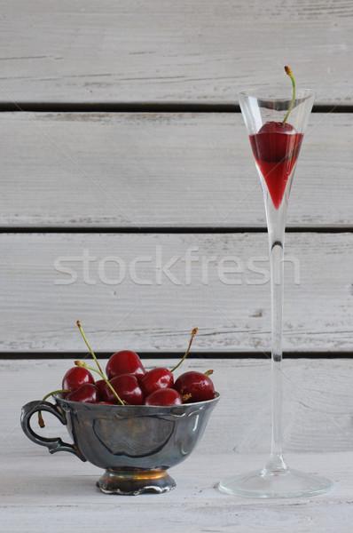 Porselein beker kersen brandewijn vintage witte Stockfoto © stickasa