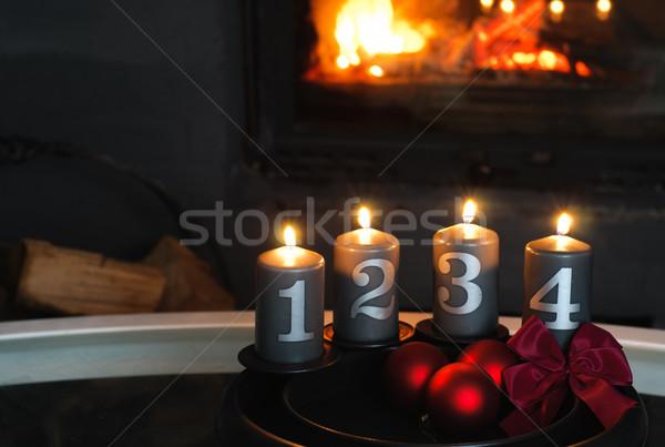Stok fotoğraf: Advent · çelenk · şömine · ışık · tatil · kutlama