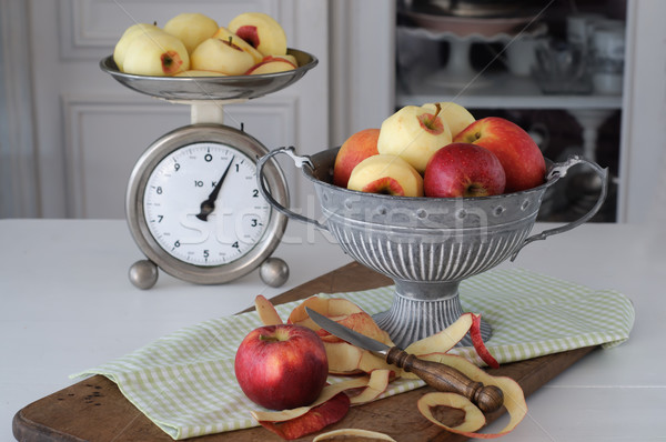 Cup of Apples and Kitchen Scale Stock photo © stickasa