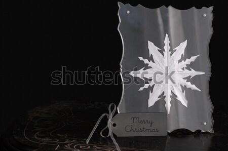 Czarno białe christmas dekoracji śniegu ramki zimą Zdjęcia stock © stickasa