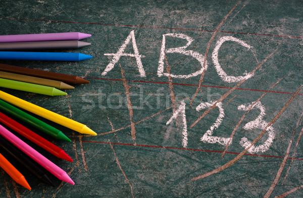 Powrót do szkoły kolorowy ołówki tekstury szkoły zielone Zdjęcia stock © stickasa