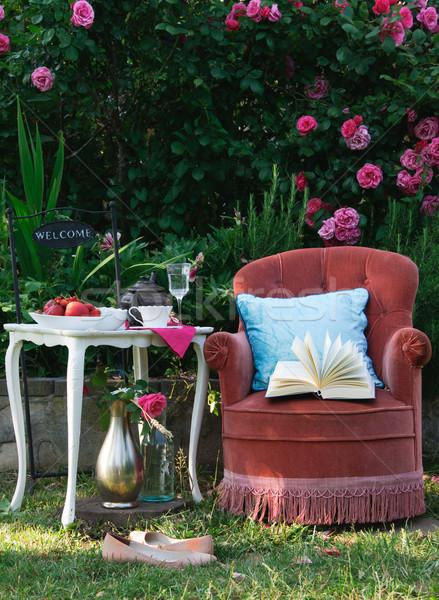 Photo stock: Détente · roses · jardin · livre · lecture · potable