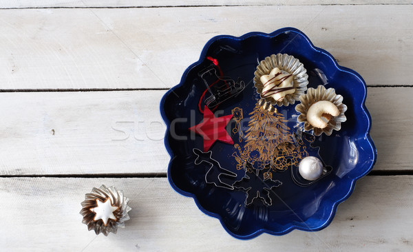 Chistmas plate with cookies and cookie cutter  Stock photo © stickasa