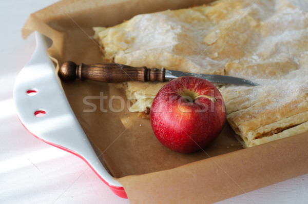 Apple Pie in Red Porcelain Baking Tray - Close Up  Stock photo © stickasa