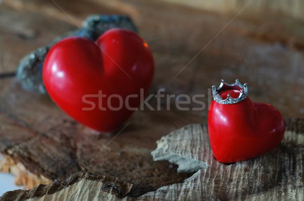 Królowej mój serca dwa serca zaręczynowy Zdjęcia stock © stickasa