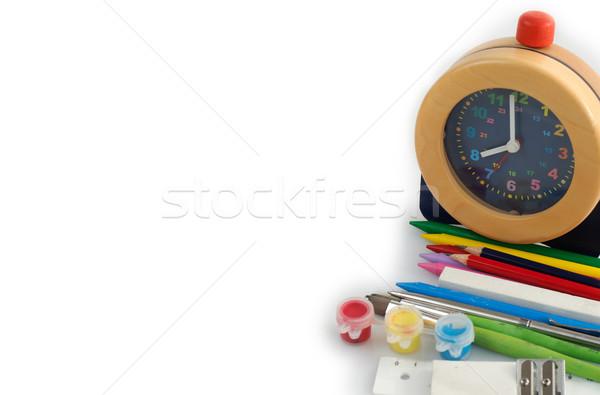 Zdjęcia stock: Powrót · do · szkoły · budzik · odizolowany · biały · tle · edukacji